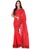 Ansu Fashion Red Embroidered Faux Georgette Saree
