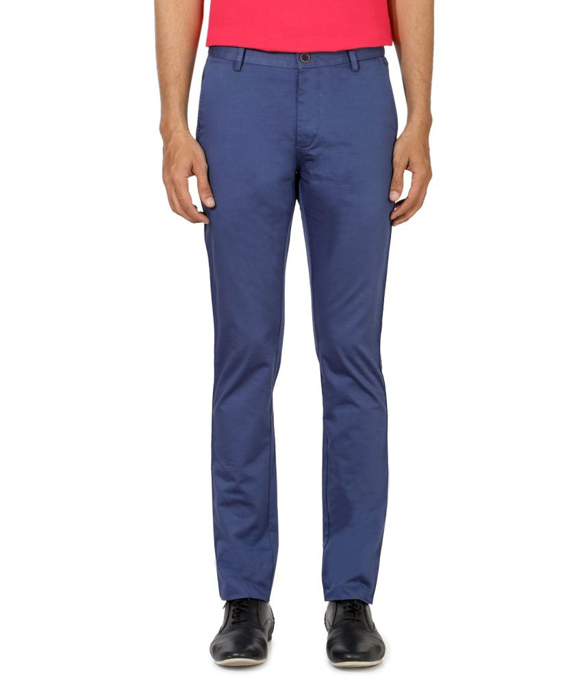 Allen Solly Blue Flat Front Textured Casual Trouser