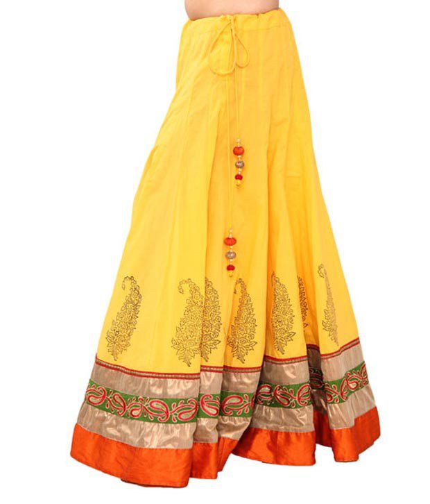 405ba4779b Buy Chhipa Yellow Embroidered Cotton Long Skirt Online at Best Prices in  India - Snapdeal