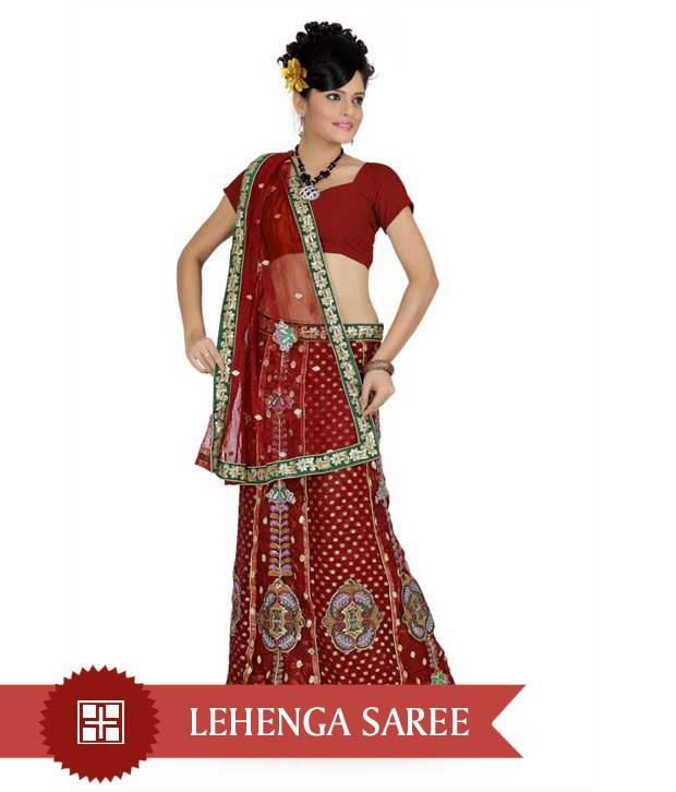 Designer Sarees Red Net Saree