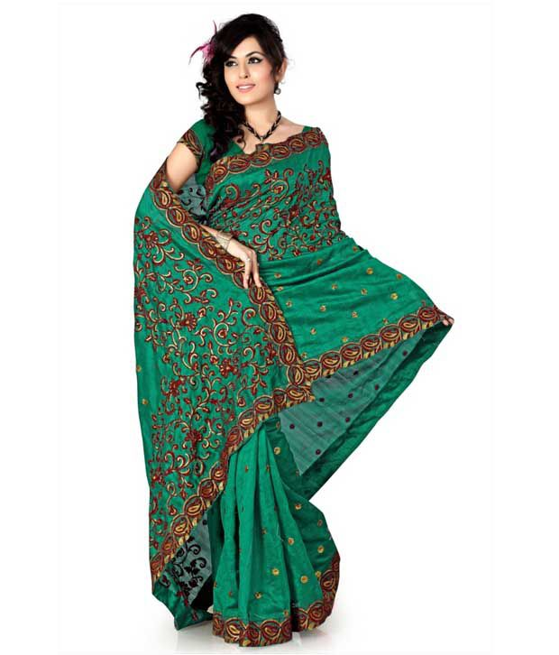 Designer Sarees Green Art Silk Saree