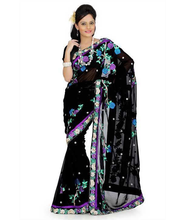 Designersareez Lovely Black Embroidered Saree