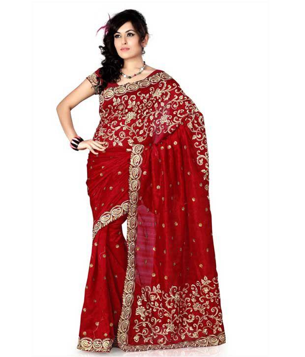 Designersareez Maroon Sequined Bhagalpuri Silk Saree