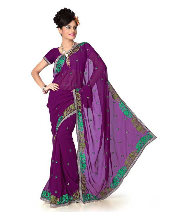 Designer Sarees Purple Faux Georgette Saree