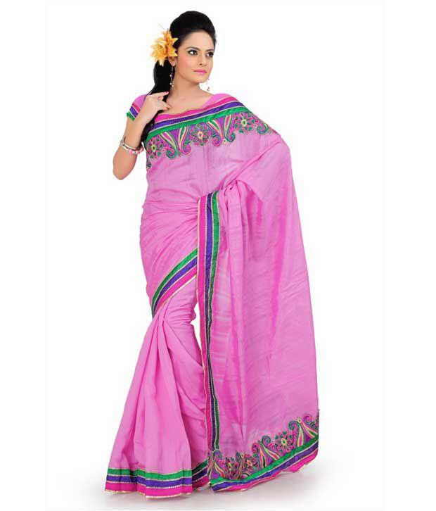Designer Sarees Pink Art Silk Saree