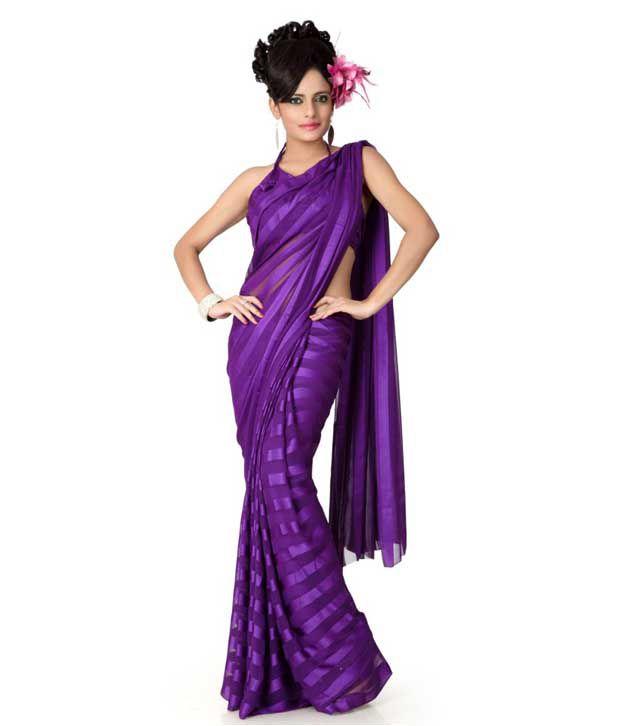 Designer Sarees Purple Semi Chiffon Saree