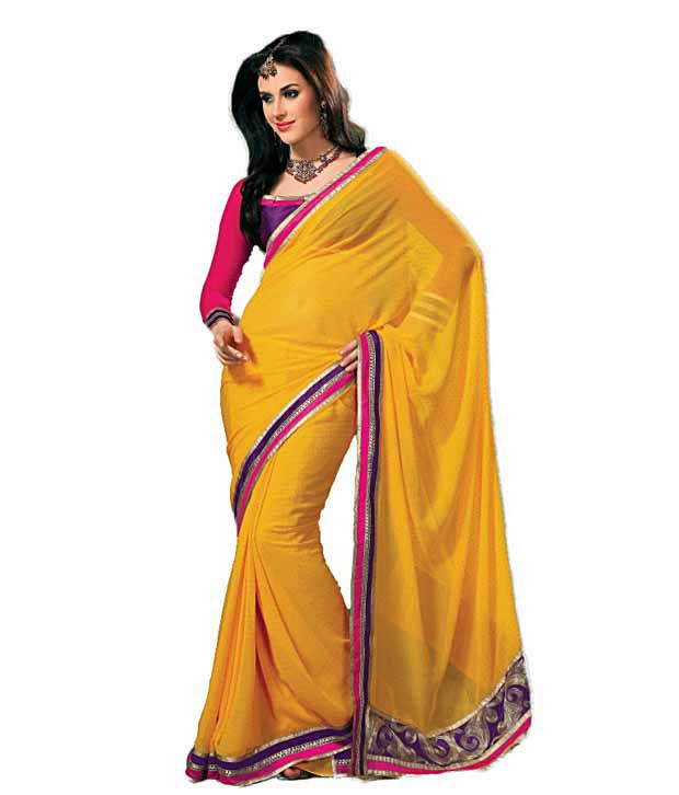 Khazana Yellow Semi Chiffon Saree