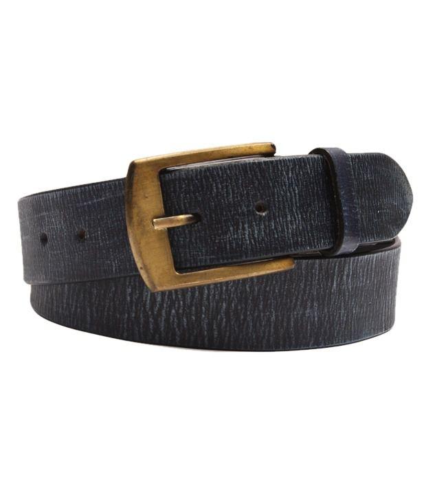 Ligans NY Blue Formal Leather Belt For Men