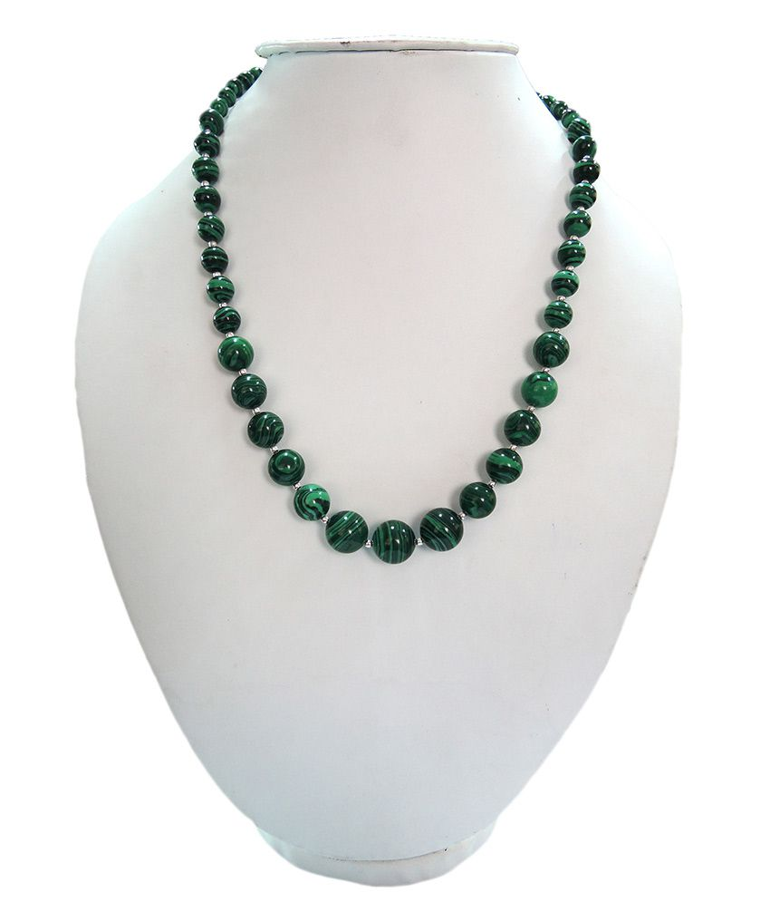 Pearlz Ocean Green Color Howlite Beads 18 Inches Journey Necklace
