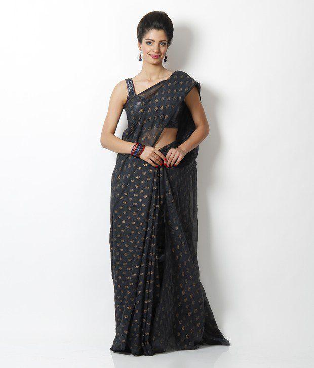 SSV Black Printed Maheshwari Saree