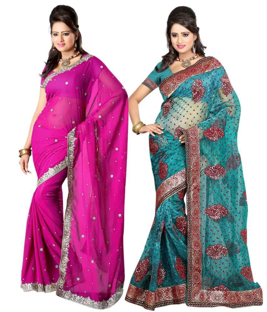Sanju Sarees Radiant Multi-Colour Faux Georgette Sarees