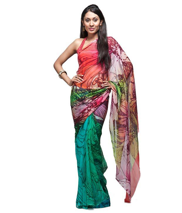 Satya Paul Green-Pink Chiffon Printed Saree