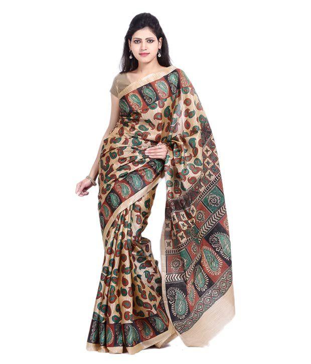 Vida Beige-Rust Art Silk Banarasi Saree With Unstitched Blouse