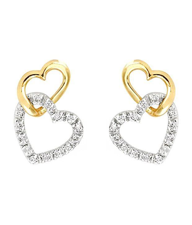 Ag Real Diamond Gold Silver Heart Shape Earrings
