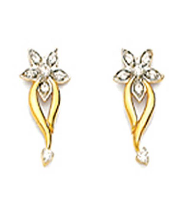 Avsar 18kt Gold Delicate Flower Diamond Earrings