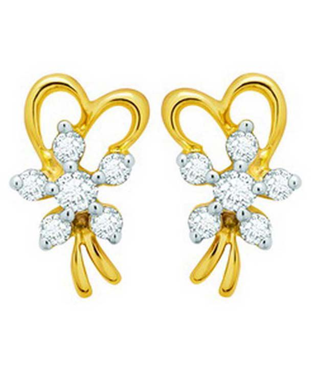 Avsar Avsar 18Kt Gold Heart Ribbon Floral Diamond Studs (Multicolor)