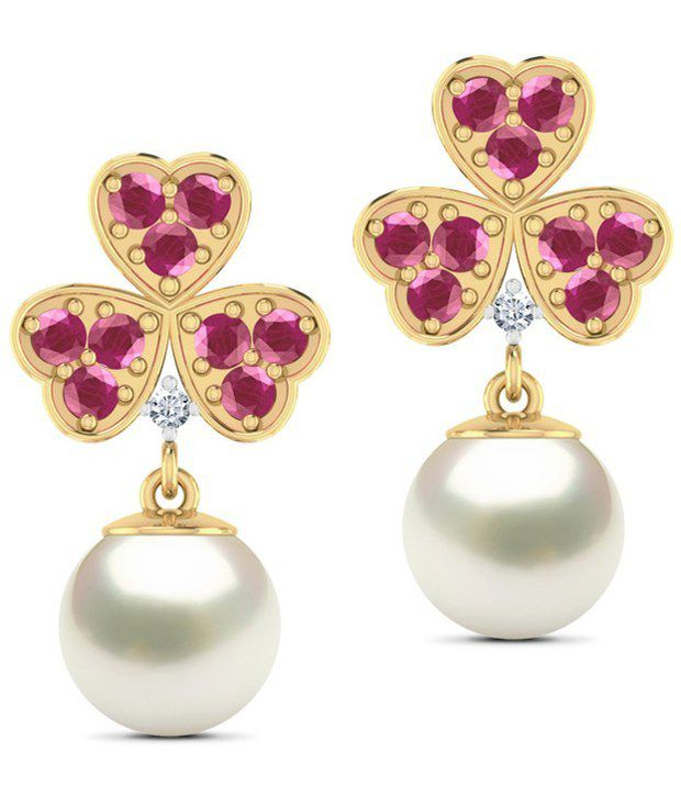 Caratlane Clover Pearl And Ruby 18 Kt Certified, Real Diamond & Gemstone & Hallmarked Gold Earring
