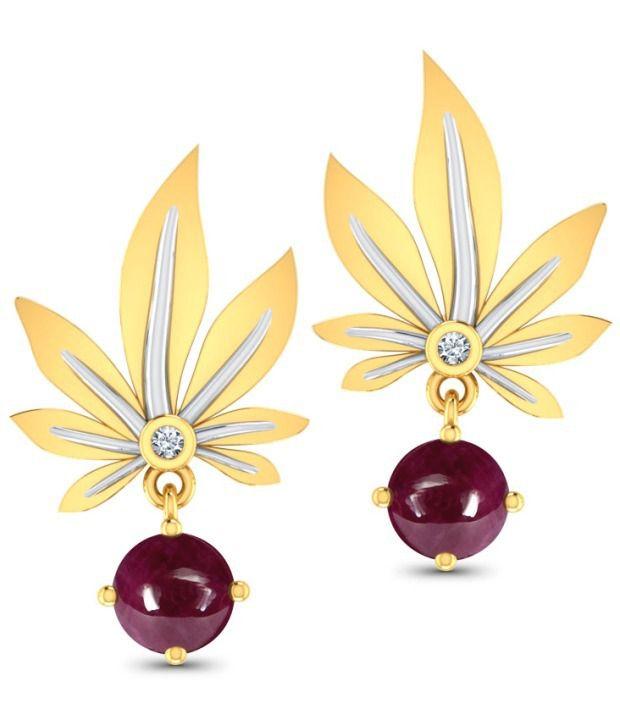 Caratlane Morning Dew 18 Kt Certified, Real Diamond & Gemstone & Hallmarked Gold Earring
