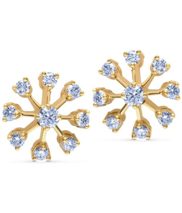 Caratlane Nakshatra Stud 18 Kt Certified, Real Diamond & Hallmarked Gold Earring