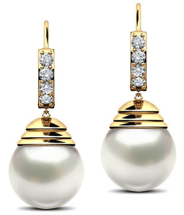 Caratlane Prudence 18 Kt Certified, Real Diamond & Gemstone & Hallmarked Gold Earring
