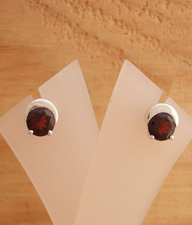 Designer Silver Elegant Garnet Studded Silver Earrings