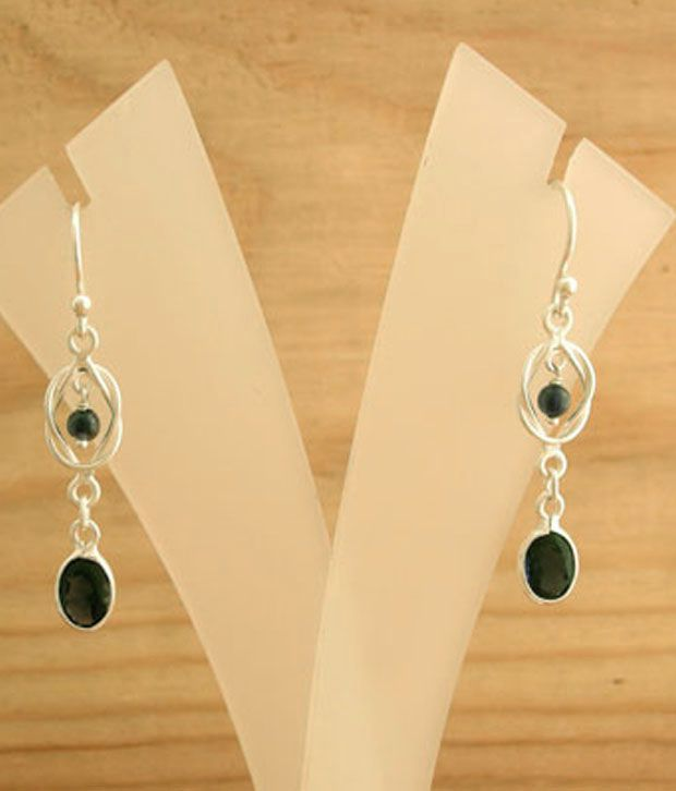 Designer Silver Iolite Studded Sterling Silver Earrings