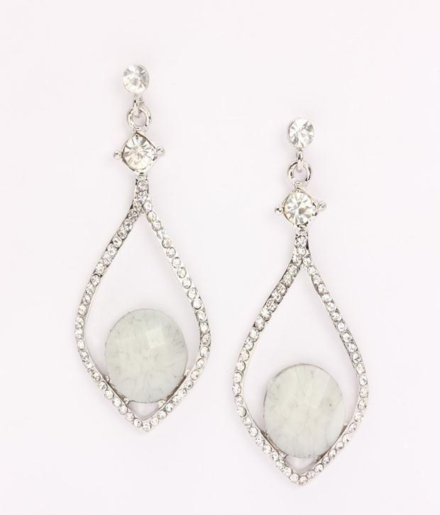 Khoobsurati Crystal in   Drop Hangings White