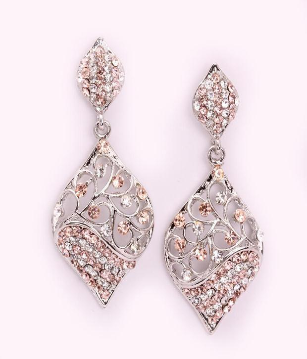 Khoobsurati Stylish Dangler   with Beautiful Crystals -Peach