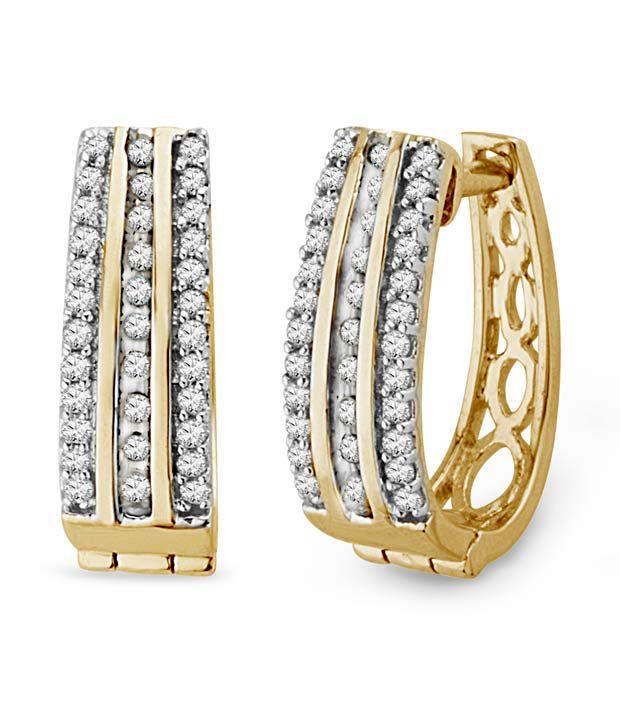 Sri Jagdamba Pearls Designer Diamond Amp Gold Hoop Earrings