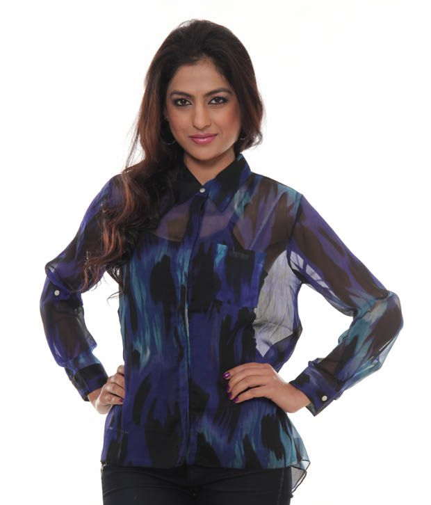 Nun Navy Blue-Black Printed Shirt