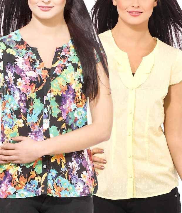 Osia Italia Yellow-Black Printed Cotton Shirt
