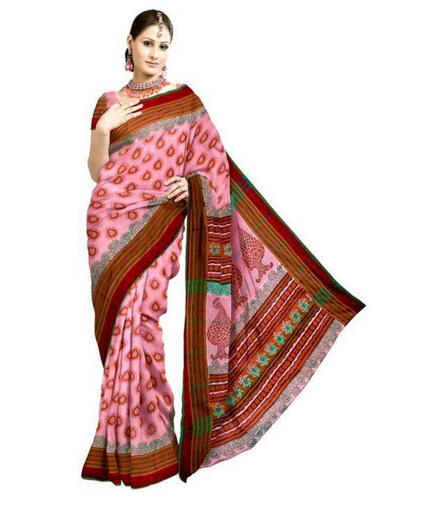 Unnati Silks Casual Pink Rasipuram Pure Cotton  Saree