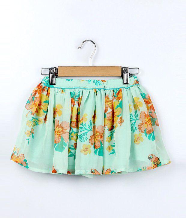 Beebay Light Green Color Georgette Flowers Printed Skirt For Kids