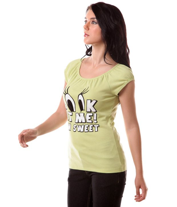 Benetton Olive Green Printed Cotton T-Shirt