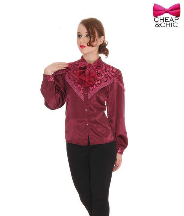 Cheap & Chic Fancy Maroon Shirt