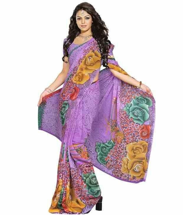 Kalazone Purple Printed saree - WS20038  available at snapdeal for Rs.732