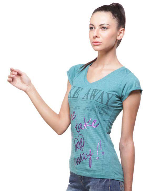 Madame Awesome Sea Green Viscose Printed T-Shirt