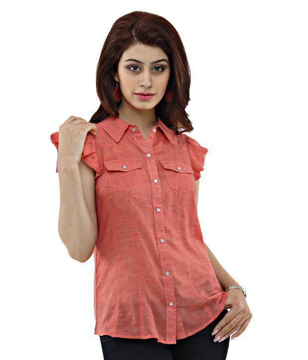 Shakumbhari Red Solid Cotton Shirt