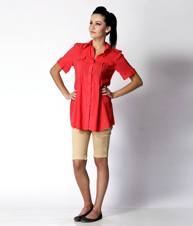 Trendy Divva Red Solid Cotton Shirt