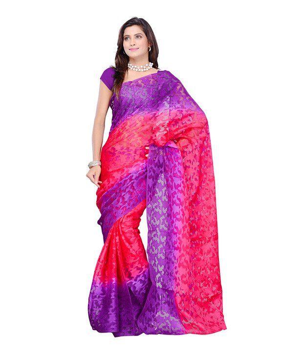 Dye Fab Purple Semi Chiffon Saree