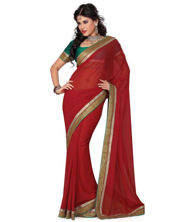 Saree Swarg Red Embroidered Saree