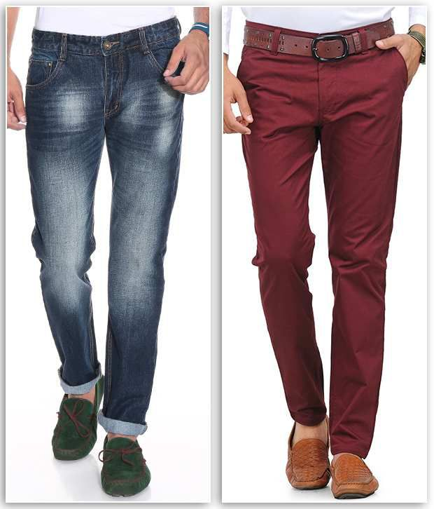 PHOENIX Maroon Regular Casuals Chinos