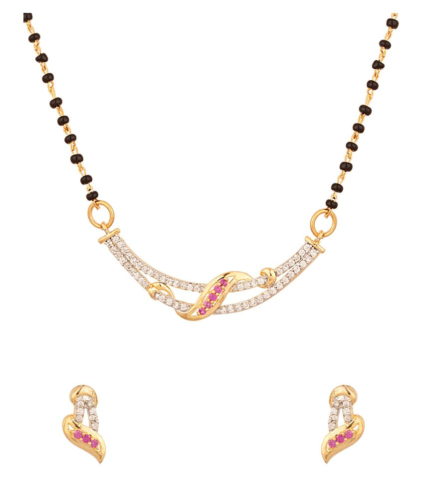 Voylla Single Chain Mangalsutra With Faux Ruby and CZ Stones