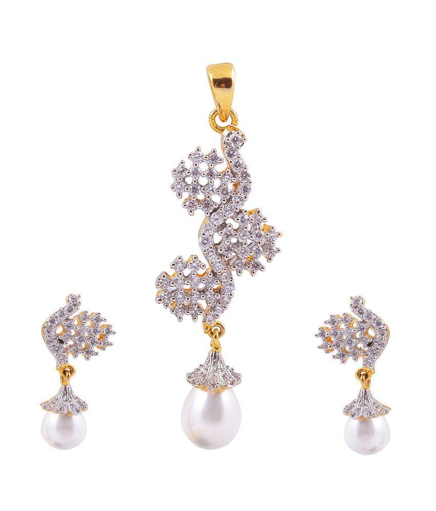 Ashiana Elegant American Diamond Pendent Set