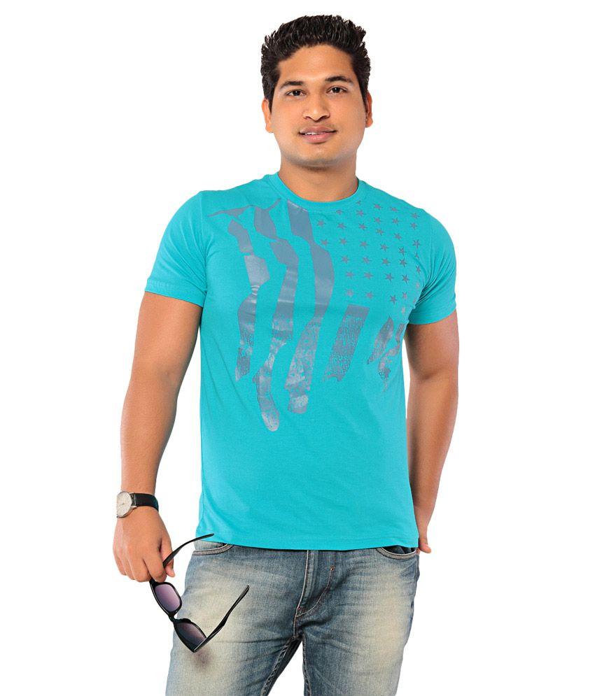 EBRY Turquoise Half Cotton Round T-Shirt