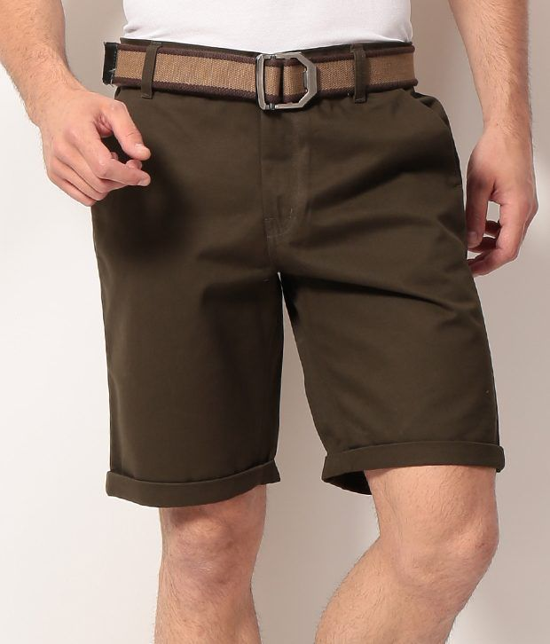 Phoenix Brown Cotton Solids Shorts