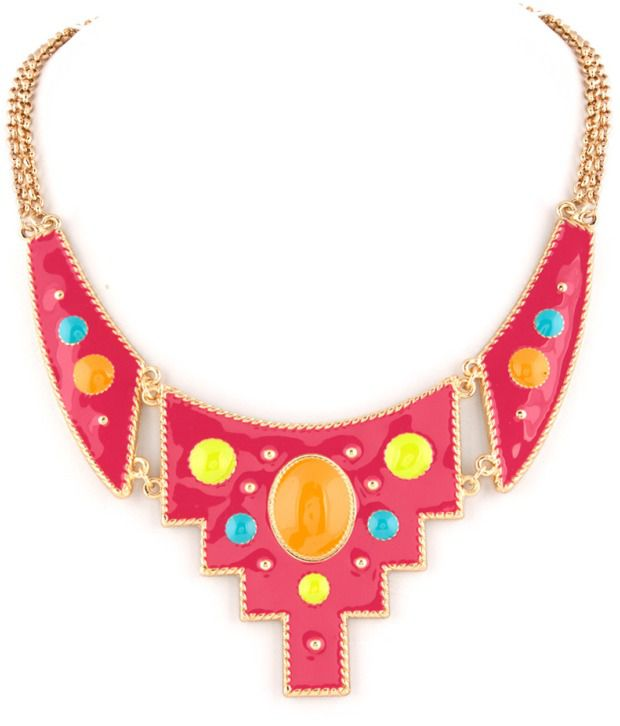 Voylla Charming Pink Pendant With Golden Chain Necklace