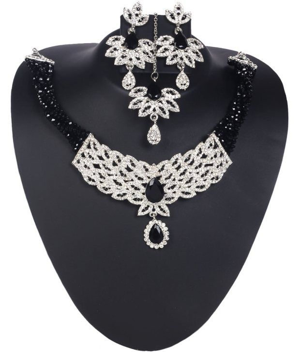 Voylla Classy American Diamond Jewellery Set With Twisted Black Beads