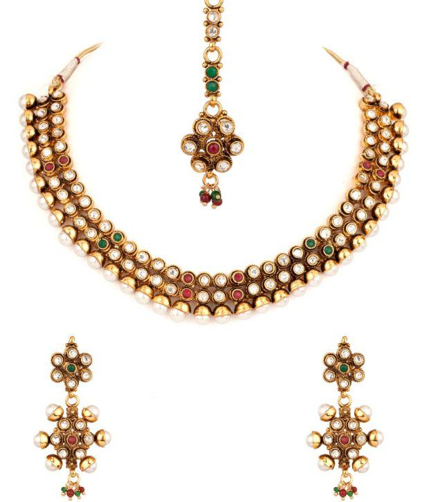 Voylla Glorious Gold Plated Stone And Pearl Encrusted Set