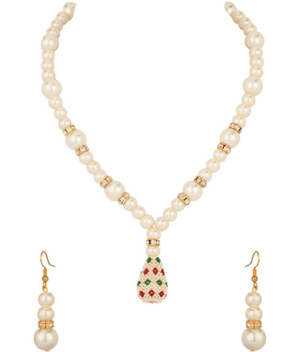 Voylla Gold Plated Cz Necklace Set With Adorable Pearl Beads